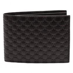 Gucci Men's Microguccissima GG Logo T. Moro Brown Leather Trifold Wallet 333042