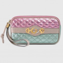 Gucci Women's Dionysus Logo Quilted Laminated Pink Blue Metallic phone case clutch 542202