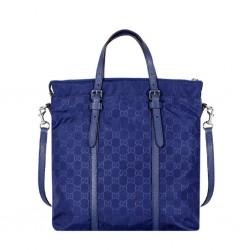 Gucci Zip Top Guccissima Navy Blue Detachable Strap GG Nylon Tote Handbag 510333