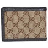 Gucci Men's Original GG Logo Canvas Web Brown Beige Leather Trim Bi-fold Wallet 278596