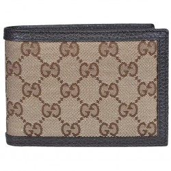 Gucci Men's Original GG Logo Canvas Web Brown Beige Leather Trim Bi-fold Wallet 278596