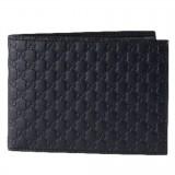 Gucci Men Black Nero Microguccissima GG Logo Embossed Leather Bifold Wallet 292534