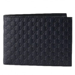 Gucci Men Black Nero Microguccissima GG Logo Embossed Leather Bifold Wallet 292534