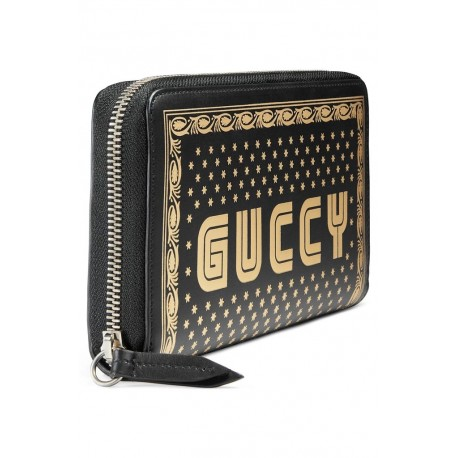 Gucci Unisex Sega Guccy Stars Black Moon Corn Gold Zipper Leather Wallet 510488