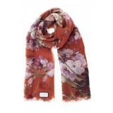 Gucci Blooms Womens Floral Cashmere Red Geranea Scarf Wrap 406227
