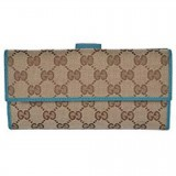 Gucci Womens Canvas GG Logo Wallet With Deep Cobalt Leather Trim 231841