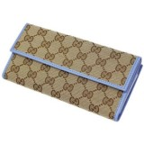 Gucci Womens Canvas GG Logo Wallet With Mineral Blue Leather Trim 231841
