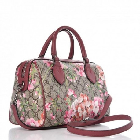 Gucci GG Supreme Monogram Blooms Top Handle Small Dry Rose 409529