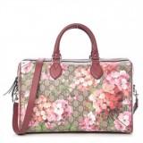 GUCCI GG Supreme Monogram Blooms Large Top Handle Boston Bag Rose 409527