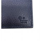Gucci Men's Navy Blue Pebbled Leather Trifold Wallet Gucci Embossed 333042