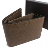 Gucci Men's Light Brown Pebbled Leather Trifold Wallet Gucci Embossed 333042