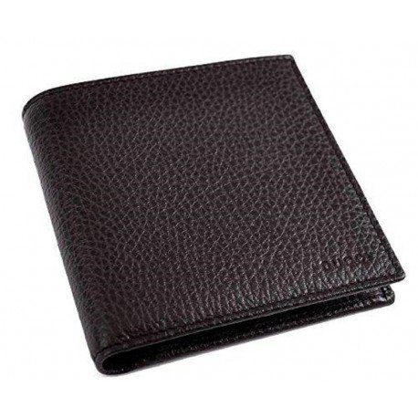 Gucci Men's Dark Brown Pebbled Leather Trifold Wallet Gucci Embossed 333042