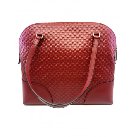 Gucci Women's Microguccissima Red Soft Calf Leather Medium Dome Handbag Tote 449243