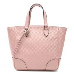 Gucci Womens GG Microguccissima Calf Leather Soft Pink Tote Crossbody Bag 449241