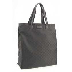 Gucci Black Nylon GG Canvas Medium Leather Open Shopping Tote Bag 449177