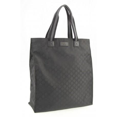 Gucci Black Nylon GG Canvas Medium Leather Open Shopping Tote Bag 449177