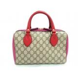 Gucci Women's GG Supreme Small Boston Pink and Red Leather Handbag 409529