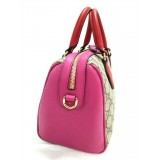 Gucci Women's GG Supreme Small Boston Pink and Red Leather Handbag 409529