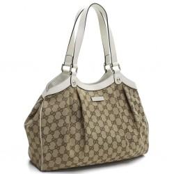 Gucci Handbag Original GG Canvas Beige Ebony White Leather Trim Tote 388919