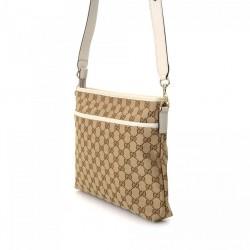 Gucci Handbag Original GG Canvas Beige Ebony White Leather Trim Messenger 388924