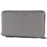 Gucci Large Gray Microguccissima GG Logo Double Zipper Travel Case 544250