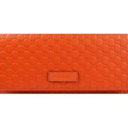 Gucci Women's Bright Orange Microguccissima Continental Flap Wallet 449396