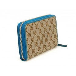 Gucci GG original Beige Logo Canvas Leather Cobalt Blue Wallet 363423