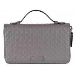 Gucci Large Gray Microguccissima GG Logo Double Zipper Travel Case 544250