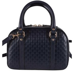 Gucci Micro Guccissima Soft Dollar Calf Maragaux Navy Blue Zip Top Rectangle Bag 510289