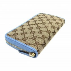 Gucci GG original Beige Logo Canvas Leather Mineral Blue Wallet 420113