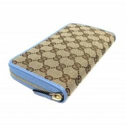 Gucci GG Original Beige Logo Canvas Leather Mineral Blue Wallet 363423