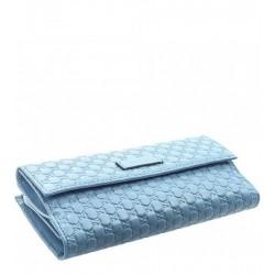 Gucci Microguccissma Mineral Blue Leather Continental Flap Wallet 449393