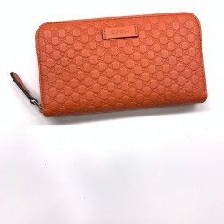 Gucci Sun Orange Leather Microguccissima GG Zip Around Wallet 449391