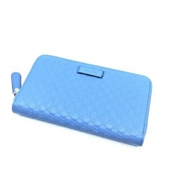 Gucci Mineral Blue Microguccissima GG Zip Around Leather Wallet 449391