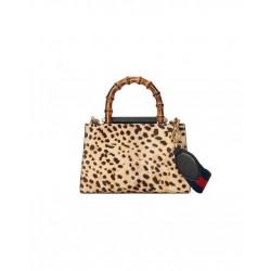 Gucci Women's Nymphaea Leopard Print Pony Hair Black Leather Mini Bag 470271