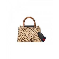 Gucci Women's Nymphaea Leopard Print Pony Hair Black Leather Large Bag 453764