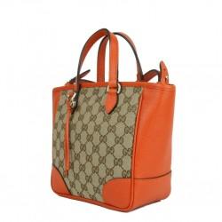Gucci Original GG Canvas and Calf Leather Beige Orange Tote Cross Body 449241