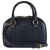 Gucci Micro Guccissima Soft Dollar Calf Maragaux Navy Blue Zip Top Rectangle Bag 510289