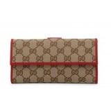 Gucci Womens Canvas GG Logo Wallet With Red Leather Trim 231841