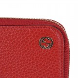 Gucci Dollar Calf Interlocking GG Logo Red Rosso Leather Continental Wallet 449347