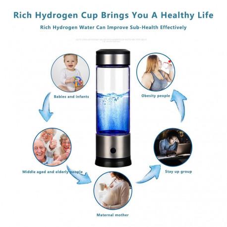 Portable Hydrogen Rich Water Bottle Glass for antioxidants, energy, and internal rejuvenation