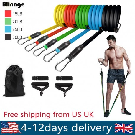 Complete home and travel friendly exercise workout program and elastic band gym equipment for safe home fitness workouts