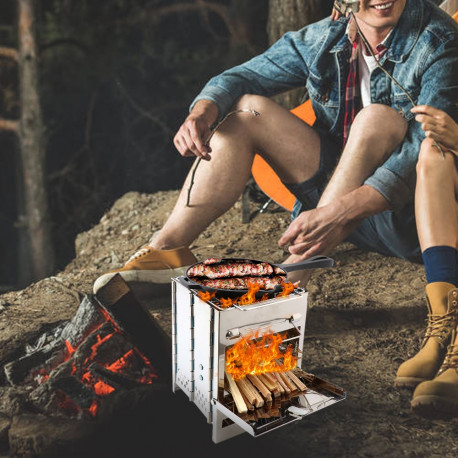 Wood Stove & Mini BBQ Grill