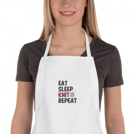 Eat sleep knit repeat - Embroidered Apron