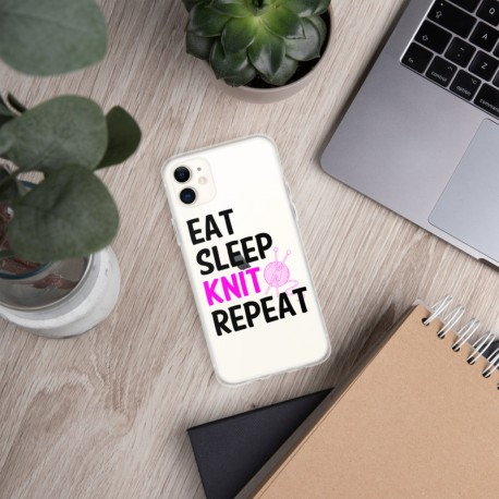 Eat sleep knit repeat -iPhone Case