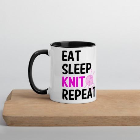 Eat sleep knit repeat - Mug with Color Inside