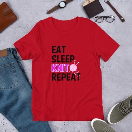 Eat Sleep Knit Repeat - Short-Sleeve Unisex T-Shirt