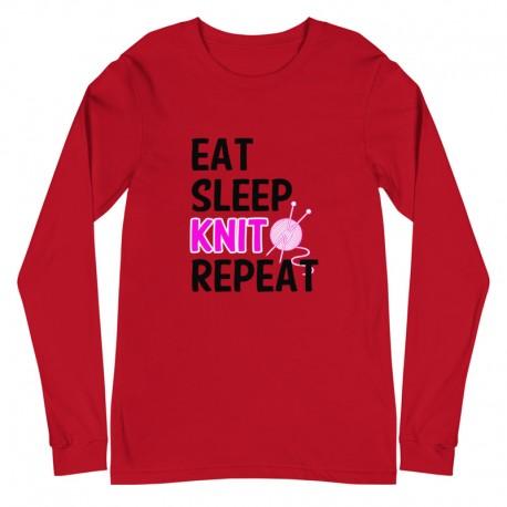 Eat Sleep Knit Repeat - Unisex Long Sleeve Tee