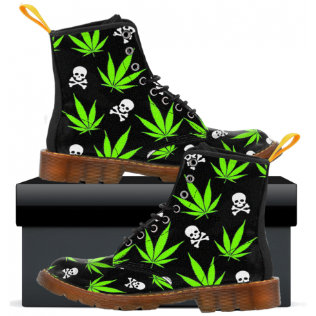 Weed Pattern - Mens Canvas Boots