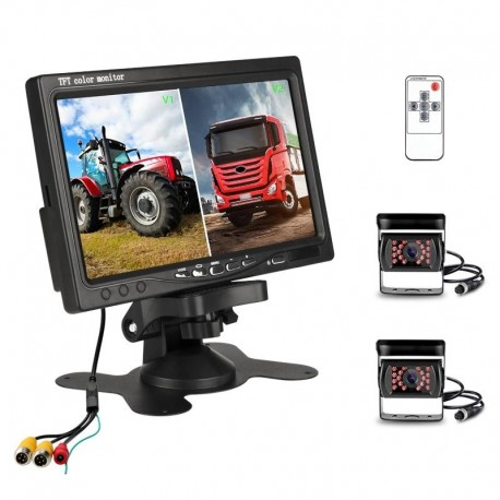 Monitor Display Truck Wireless Dual Waterproof Camera Night Vision Reversing